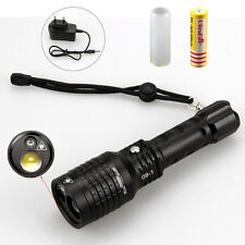2000LM LTS LED Zoom Tactical Flashlight Taschenlampe grün Laser+18650+Charger