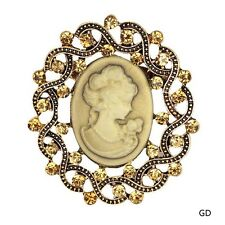 Round Vintage Rhinestone Bouquet Bridal Beauty Head Cameo Brooch Pins Gift