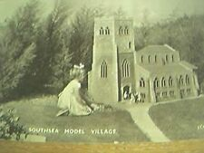 postcard unused bw rp southsea model village church