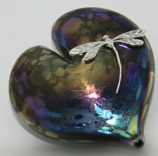 Neo Art Glass purple glass heart paperweight & silver dragonfly by K.heaton