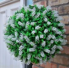Best Artificial 40cm White Flower Ball Lush Long Leaf Topiary Grass Basket New