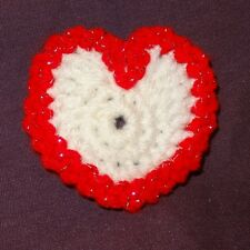 Vintage Crochet Valentine's Day Heart Holiday Pin Brooch Hand Made White Red