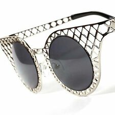 Hot Vintage Retro Round Cateye Unique Designer Women's Metal Sunglasses A91C