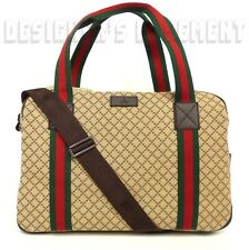GUCCI beige DIAMANTE Canvas brown Leather trim OVERNIGHTER Duffel bag NWT Authen