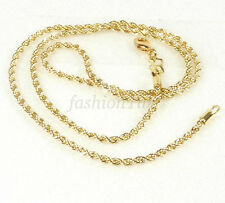 14K Yellow Gold Plated Small Rope Twist Chain Necklace 45cm 2mm Lobster Clasp