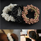 3 Colors Pearls Beads Hair Band Elastic Rope Scrunchie Women Ponytail Holder