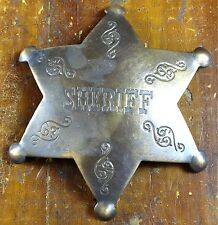 Sheriff 6 Point Star Shaped Antique Brass Pinback Old West Style Engraved Badge