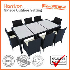 Harrison Black 9pc Piece PE Wicker Rattan Indoor Outdoor Dining Garden Setting
