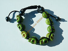Bracelet Tibetain Shamballa Ajustable 9 Skull Tetes de Mort Vert Moutarde Chance