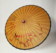 Vtg Umbrella Chinese Oriental Antique Wooden Old Bamboo Parasol Handmade Paper