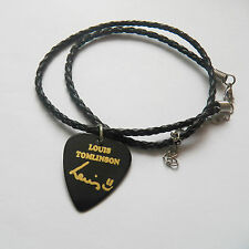 ONE DIRECTION LOUIS TOMLINSON guitar pick plectrum braided LEATHER NECKLACE 20""