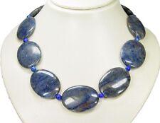 Elegante Edelsteinkette aus Blauquarz-Steinen in Ovalform L- 51 cm