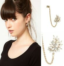 Fashion Punk Pearl Crystal Folwer Golden Link Chain Ear Cuff Clip No Puncture