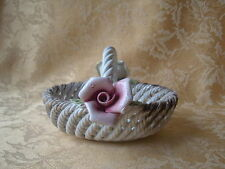 Vintage Capodimonte Porcelain Pink and Yellow Roses Flowers Oval Basket