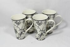 222 Fifth Adelaide Gray and White Floral Porcelain Latte Mugs Cups Set of Four