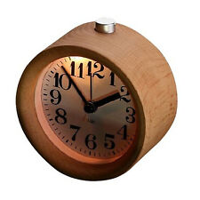 Wooden Alarm Clock Snooze Backlight Desk Wood Analogue Clock Non Ticking