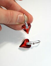 Austrian Wild heart Red Magma crystal silver drop Valentine love pin up earrings