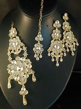 Golden Indian Fashion Bollywood Jewellery, Jhumar, Tikka & Earring Set, JS21-005