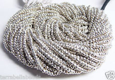 "13"" strand silver coated PYRITE faceted gem stone rondelle beads 2.5mm - 3mm"