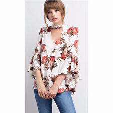 NWT Ladies Floral Print Mock Neck Bell Sleeve Top Ivory LARGE L