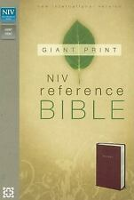 NIV, Reference Bible, Giant Print, Imitation Leather, Burgundy, Zondervan, Accep