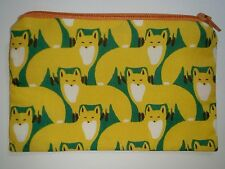 Handmade Zippy Cotton Fabric Coin Purse/Wallet - Yellow Fox Design