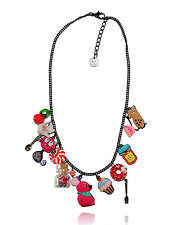 Collier chat gourmand ♥ rose bonbon ♥ souris♥ fiole verre ♥ lol bijoux ♥ paris