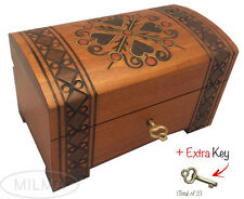 Heart Design Handmade Wooden Box w/ Lock Polish Jewelry Keepsake Treasure Chest
