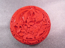 Carved Red Cinnabar Bird/ Flower Bead 1pc