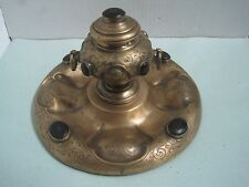 Antique ink well inkstand in metal round with applications
