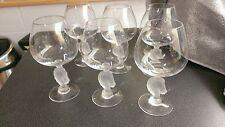 6 verres à Cognac avec pieds en tête de cheval en cristal de BAYEL.