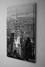 Tin Sign Globetrotter Chrysler Building NY Metal Plate