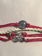 NEW INFINITY PINK BRACELET WITH TREE MUSIC NOTE WITH SKULL #49