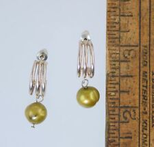 STERLING SILVER & FRESHWATER PEARL HUGGIE HOOP EARRINGS
