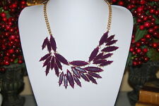 CARA NEW YORK LARGE BOLD RUNWAY GOLD TONED METAL BIB NECKLACE WITH PURPLE STONES