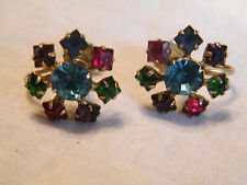 Beautiful Screw Back Earrings Gold Tone Colorful Prong Rhinestones Signed KARU