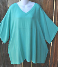 """ART TO WEAR 210 LAGENLOOK TUNIC IN SOLID AQUA MINT BY MISSION CANYON, 54""""B, OS!"""