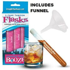 Smuggle Your Booze 5 Tampon Flasks & Funnel Hidden Secret Liquor Club Party Gift