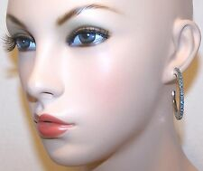 NEW Simply VERA WANG Silver AQUA RHINESTONE Hoop DESIGNER Pierced Earrings w/Tag