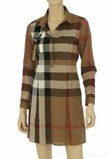 NEW BURBERRY CURRENT LUXURY TAUPE BROWN COTTON CHECK SHIRT DRESS 40/US 6