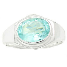 Faceted Aquamarine 925 Sterling Silver Ring Jewelry s.7 AQFR654