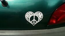 Peace Love Car sticker decal Yoga Hippy style original design
