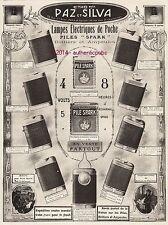 PUBLICITE PAZ & SILVA LAMPES ELECTRIQUES DE POCHE PILE SPARK AMPOULE DE 1915 AD