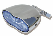 Chrome Plated Custom Wave Blue Headlight for Harley and Customs