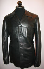 Mens F&CO Real Black Genuine Soft Leather Box Jacket Blazer Coat XL