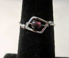 STERLING SILVER BURGUNDY GARNET RING WITH A GIFT RING BOX - SIZE 3 3/4 .52 CT