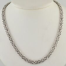 STERLING SILVER 6.3MM OVAL BYZANTINE 18 INCH NECKLACE