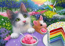 Kitten cat mouse rainbow birthday cake fairy fantasy OE aceo print art