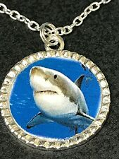 "Great White Shark Charm Tibetan Silver with 18"" Necklace"