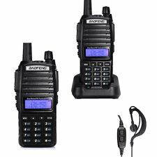 2 x BAOFENG UV-82 Dual Band UHF / VHF 137-174/400-520MHz FM Radio + Earpiece US